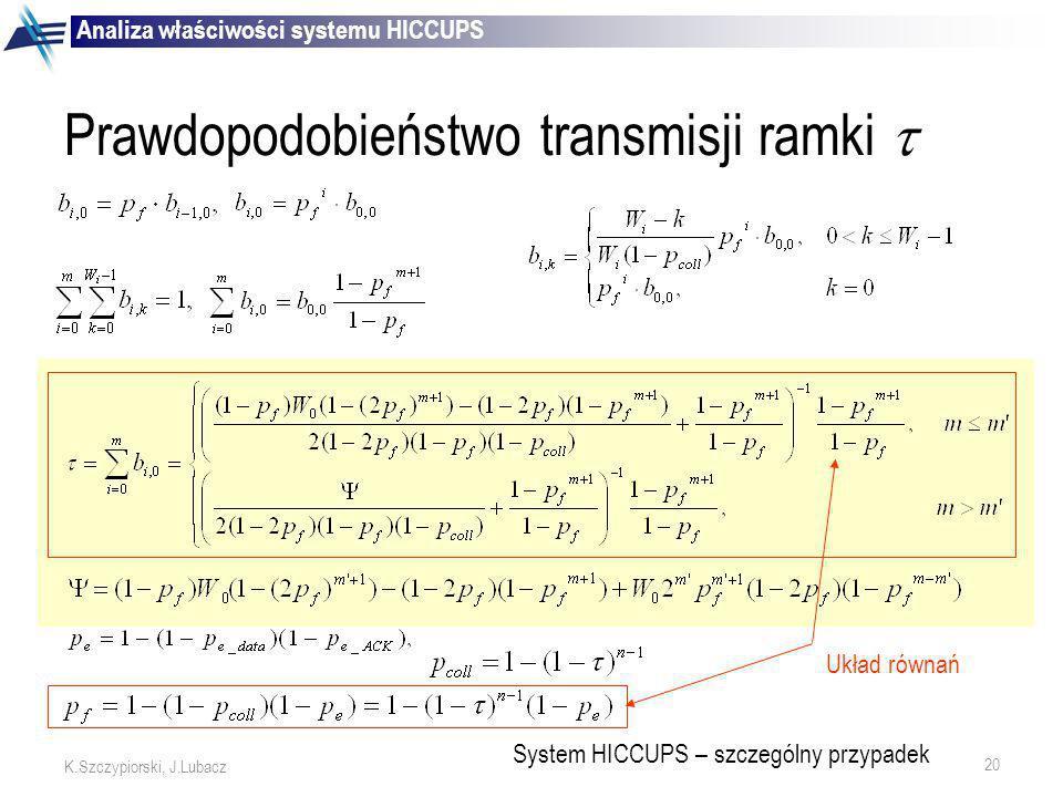 20 K.Szczypiorski, J.Lubacz Prawdopodobieństwo transmisji ramki System HICCUPS – szczególny przypadek Układ równań Analiza właściwości systemu HICCUPS
