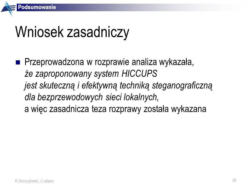29 K.Szczypiorski, J.Lubacz Wniosek zasadniczy Przeprowadzona w rozprawie analiza wykazała, że zaproponowany system HICCUPS jest skuteczną i efektywną