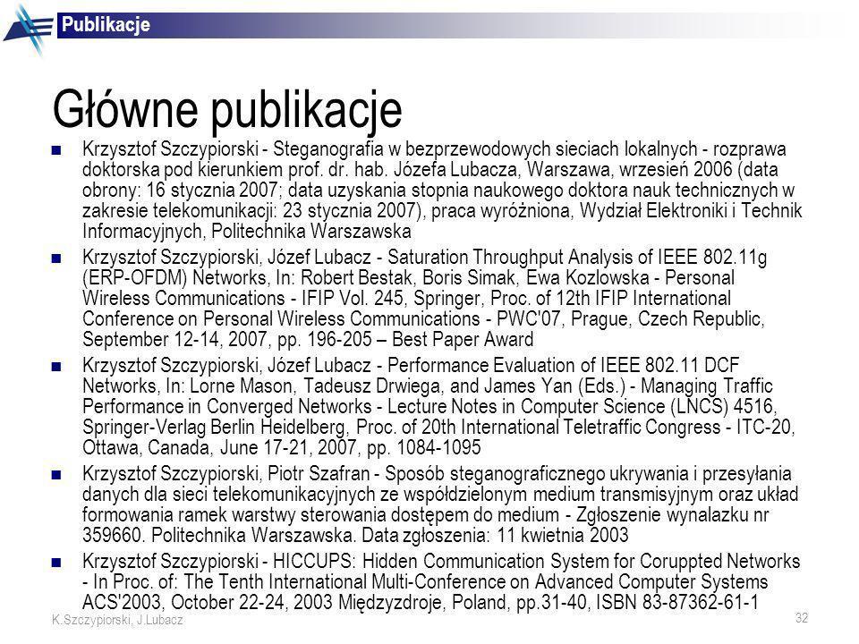 32 K.Szczypiorski, J.Lubacz Główne publikacje Krzysztof Szczypiorski - Steganografia w bezprzewodowych sieciach lokalnych - rozprawa doktorska pod kie