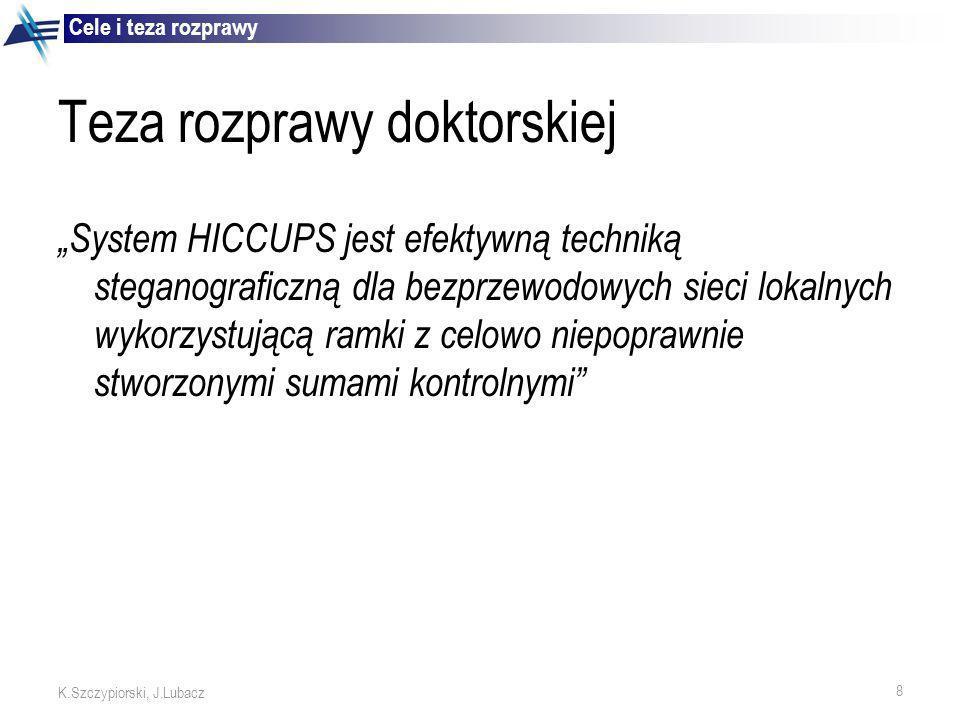 9 K.Szczypiorski, J.Lubacz Idea zaproponowanego systemu HICCUPS Użycie ramek z niepoprawnymi sumami kontrolnymi jako metody na stworzenie dodatkowego, dostępnego na żądanie, pasma do przesyłania steganogramów Istotny jest dostęp do współdzielonego medium transmisyjnego umożliwiającego kopiowanie wszystkich ramek z kanału (np.