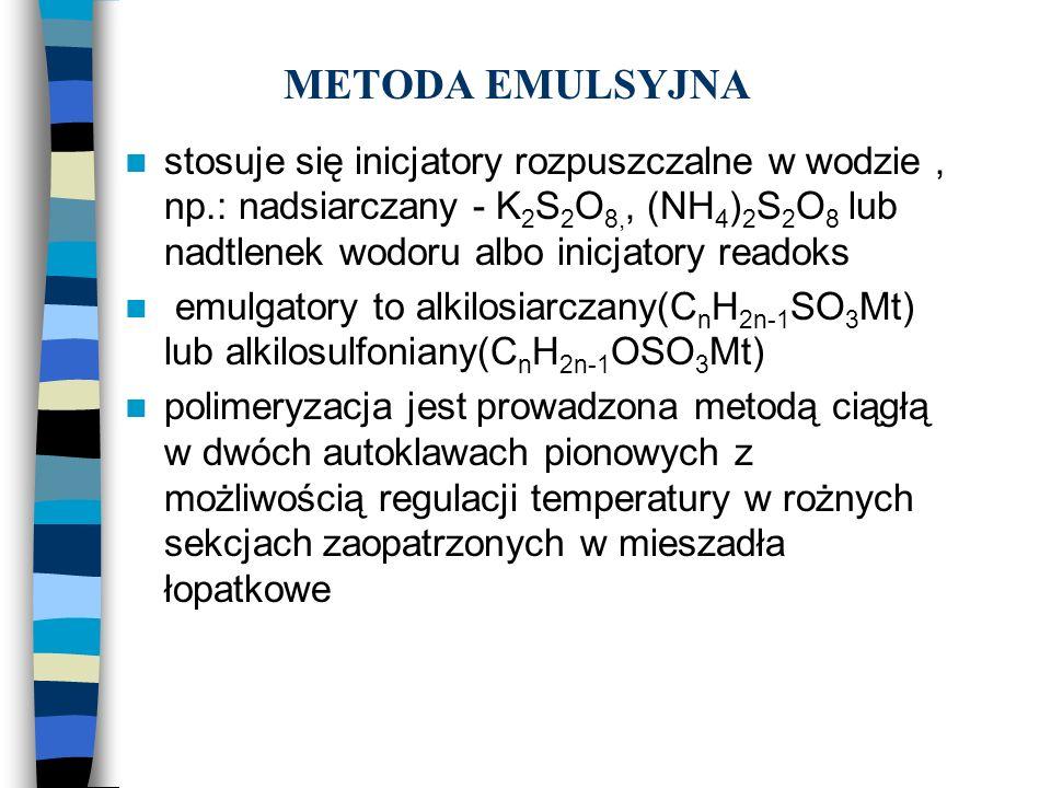 METODA EMULSYJNA stosuje się inicjatory rozpuszczalne w wodzie, np.: nadsiarczany - K 2 S 2 O 8,, (NH 4 ) 2 S 2 O 8 lub nadtlenek wodoru albo inicjato