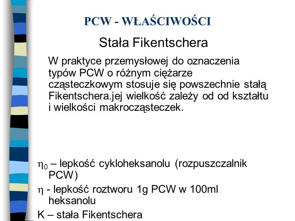 PCW - WŁAŚCIWOŚCI Stała Fikentschera W praktyce przemysłowej do oznaczenia typów PCW o różnym ciężarze cząsteczkowym stosuje się powszechnie stałą Fik