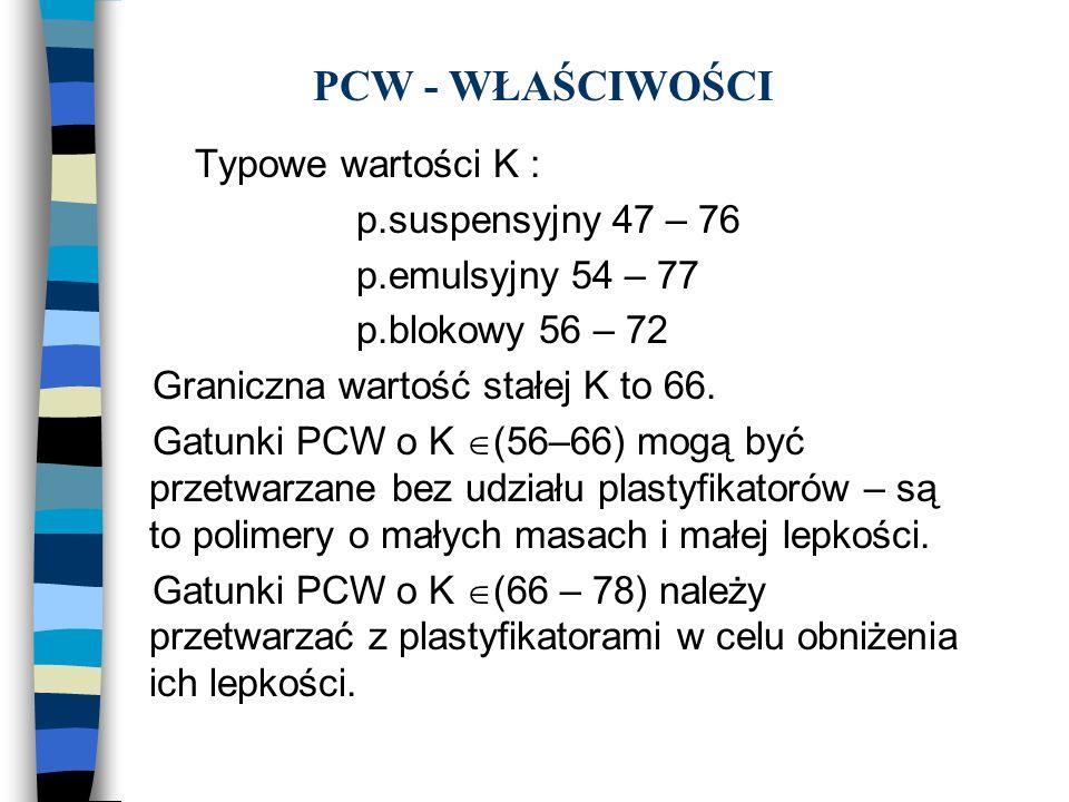 PCW - WŁAŚCIWOŚCI Typowe wartości K : p.suspensyjny 47 – 76 p.emulsyjny 54 – 77 p.blokowy 56 – 72 Graniczna wartość stałej K to 66. Gatunki PCW o K (5
