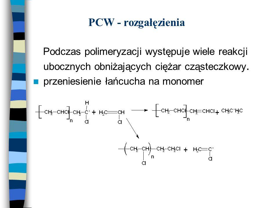PCW - rozgałęzienia Podczas polimeryzacji występuje wiele reakcji ubocznych obniżających ciężar cząsteczkowy. przeniesienie łańcucha na monomer