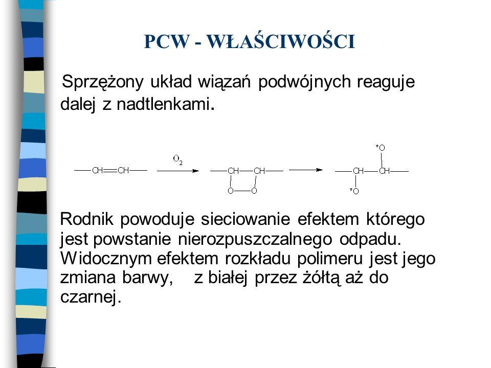 PCW - WŁAŚCIWOŚCI Sprzężony układ wiązań podwójnych reaguje dalej z nadtlenkami. Rodnik powoduje sieciowanie efektem którego jest powstanie nierozpusz