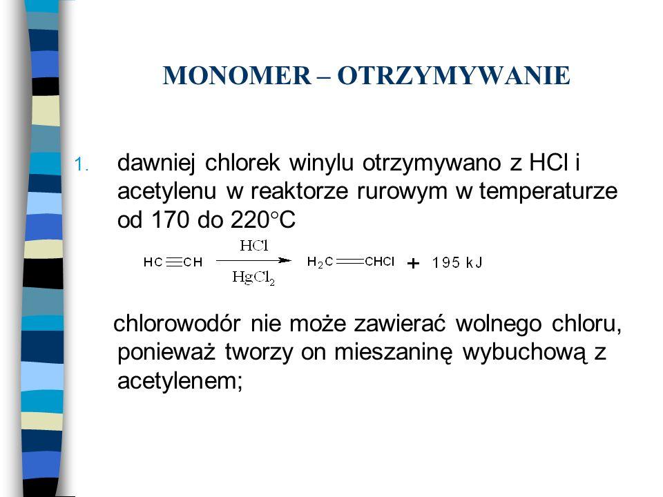 MONOMER – OTRZYMYWANIE 1. dawniej chlorek winylu otrzymywano z HCl i acetylenu w reaktorze rurowym w temperaturze od 170 do 220°C chlorowodór nie może