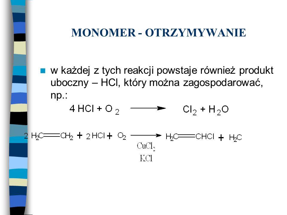 MONOMER - OTRZYMYWANIE w każdej z tych reakcji powstaje również produkt uboczny – HCl, który można zagospodarować, np.: