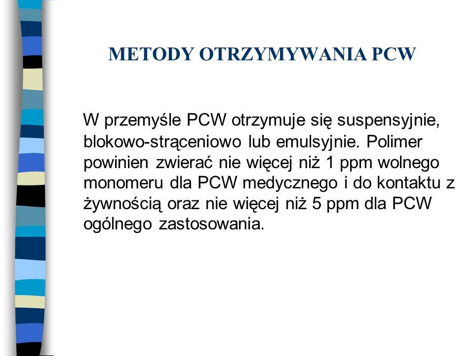 METODY OTRZYMYWANIA PCW W przemyśle PCW otrzymuje się suspensyjnie, blokowo-strąceniowo lub emulsyjnie. Polimer powinien zwierać nie więcej niż 1 ppm