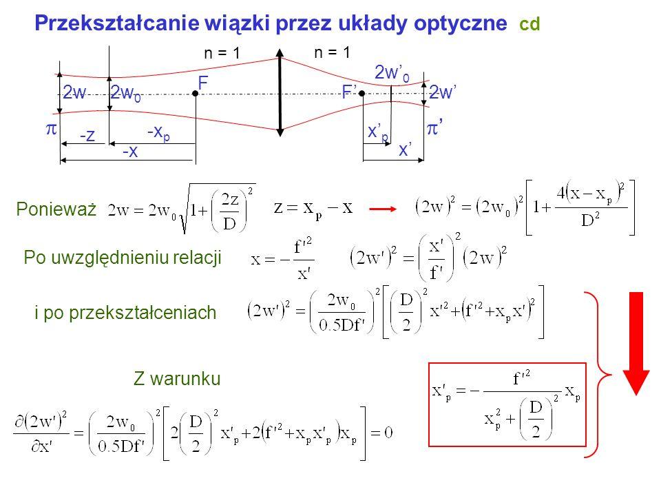 Przekształcanie wiązki przez układy optyczne Znamy D (parametr konfokalny) i x p położenie przewężenia wiązki przedmiotowej. Znaleźć D i x p wiązki ob