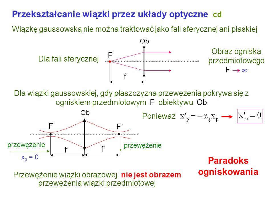 Przekształcanie wiązki przez układy optyczne cd parametry wiązki przekształconej położenie przewężenia parametr konfokalny Podstawiając x = x p znajdz