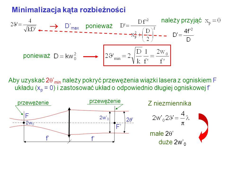 Ogniskowanie wiązki F 2w 0 2 Średnica przewężenia wiązki obrazowej małe D Dla dużych kątów niezmiennik Małe 2w 0 duży kąt rozbieżności 2 Realnie 2w 0m