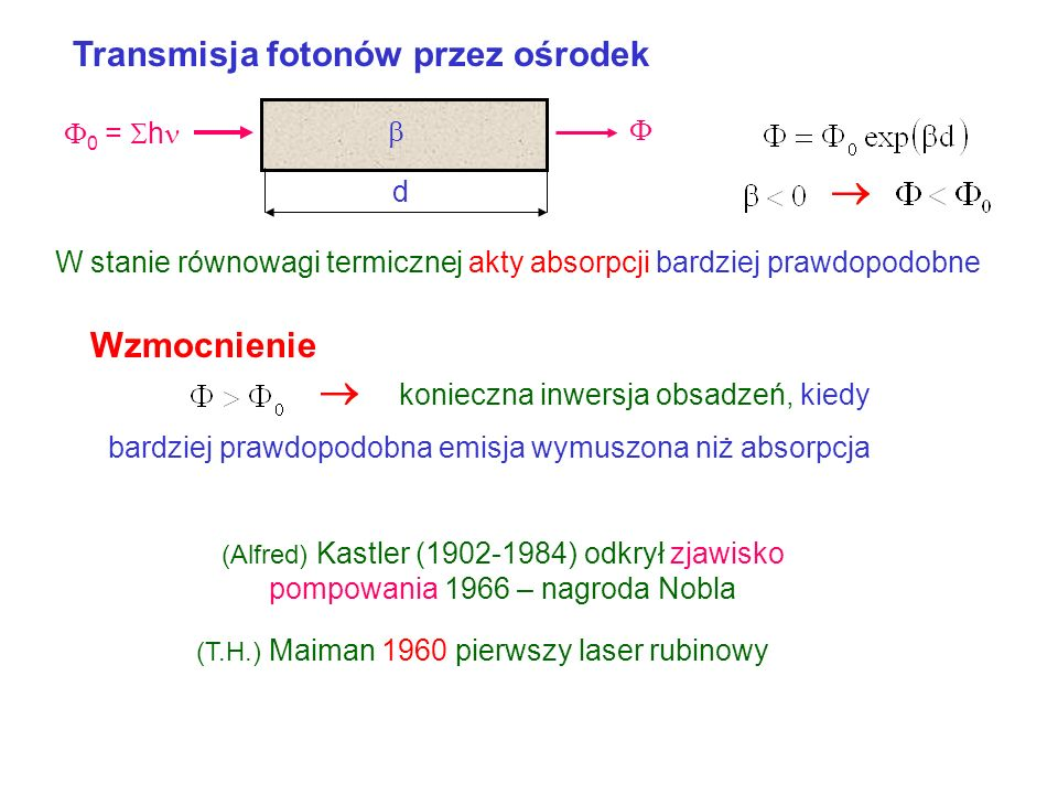 Obsadzenie poziomów Rozkład (Ludwiga) Boltzmanna E i – energia i-tego poziomu k – stała Botzmanna T – temperatura [K] E N1N1 N3N3 N2N2 N i – obsadzeni