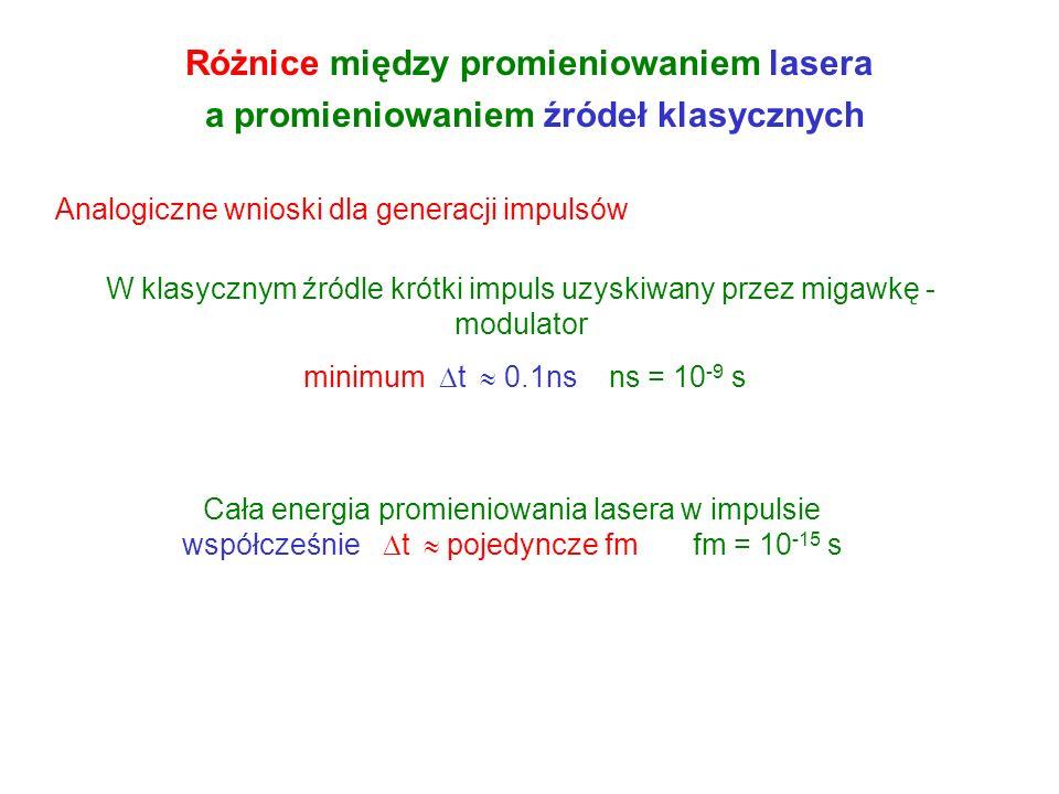 Różnice między promieniowaniem lasera a promieniowaniem źródeł klasycznych Laser generuje promieniowanie w wąskim przedziale Źródło klasyczne M Wąski