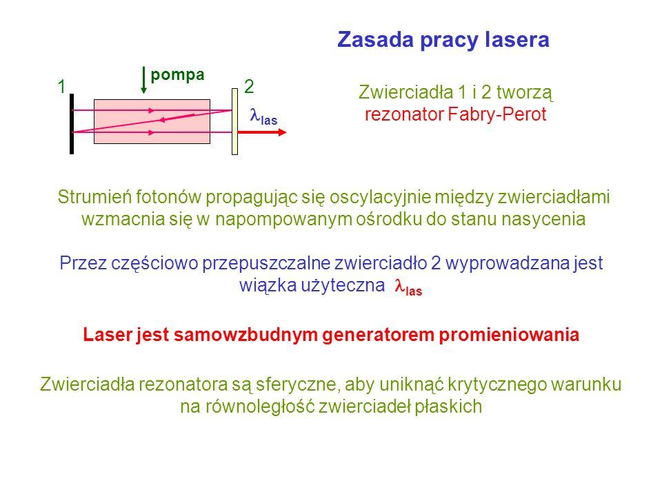 Lasery pompowanie lasera gazowego na przykładzie lasera He-Ne 2 He 3 Ne 1 Ne 2 Ne zderzenie z elektronami = 0.63 m 1 He HelNeon zderzenia ze ściankami