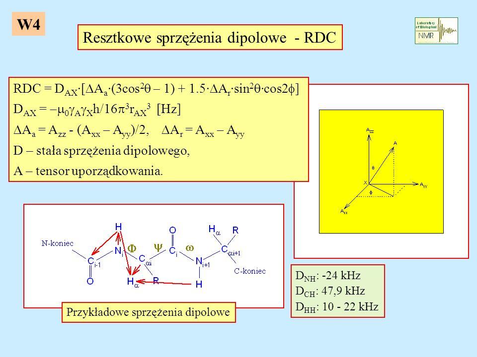 Resztkowe sprzężenia dipolowe - RDC D NH : -24 kHz D CH : 47,9 kHz D HH : 10 - 22 kHz Przykładowe sprzężenia dipolowe RDC = D AX ·[ A a ·(3cos 2 1) +