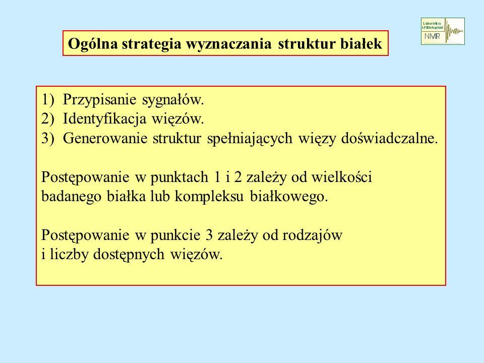 Ogólna strategia wyznaczania struktur białek 1) Przypisanie sygnałów. 2) Identyfikacja więzów. 3) Generowanie struktur spełniających więzy doświadczal