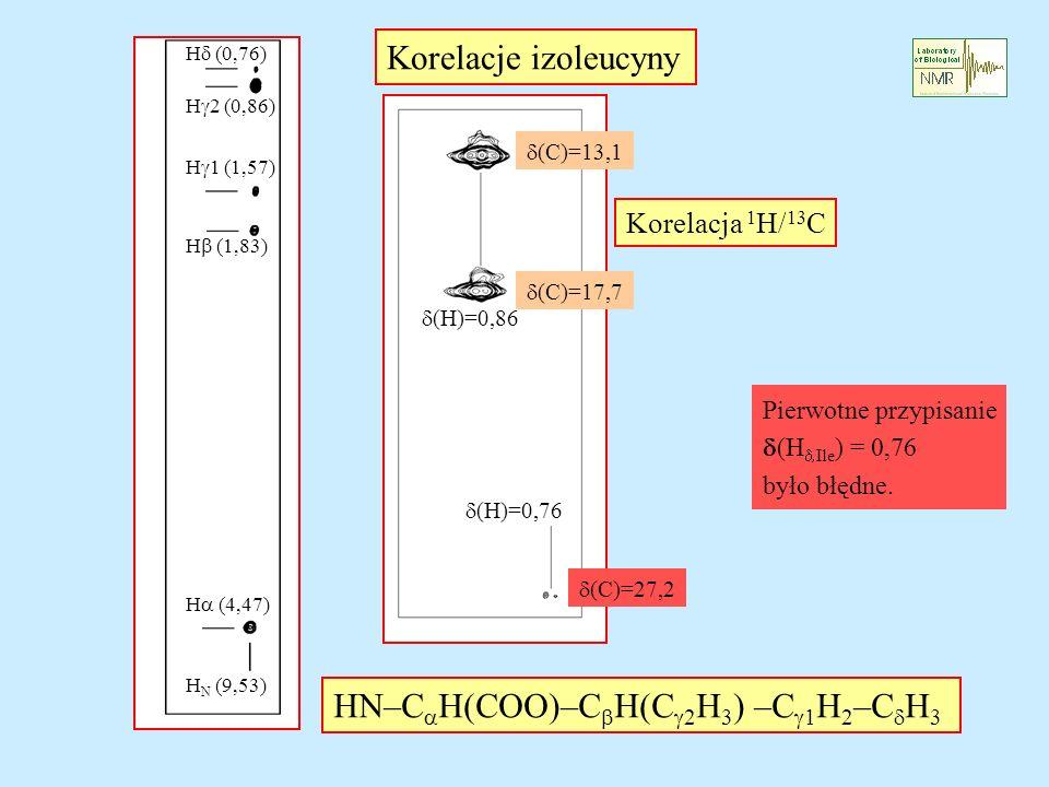 H (0,76) H 2 (0,86) H 1 (1,57) H (1,83) H (4,47) H N (9,53) HN–C H(COO)–C H(C 2 H 3 ) –C 1 H 2 –C H 3 Korelacje izoleucyny (H)=0,86 (H)=0,76 Korelacja