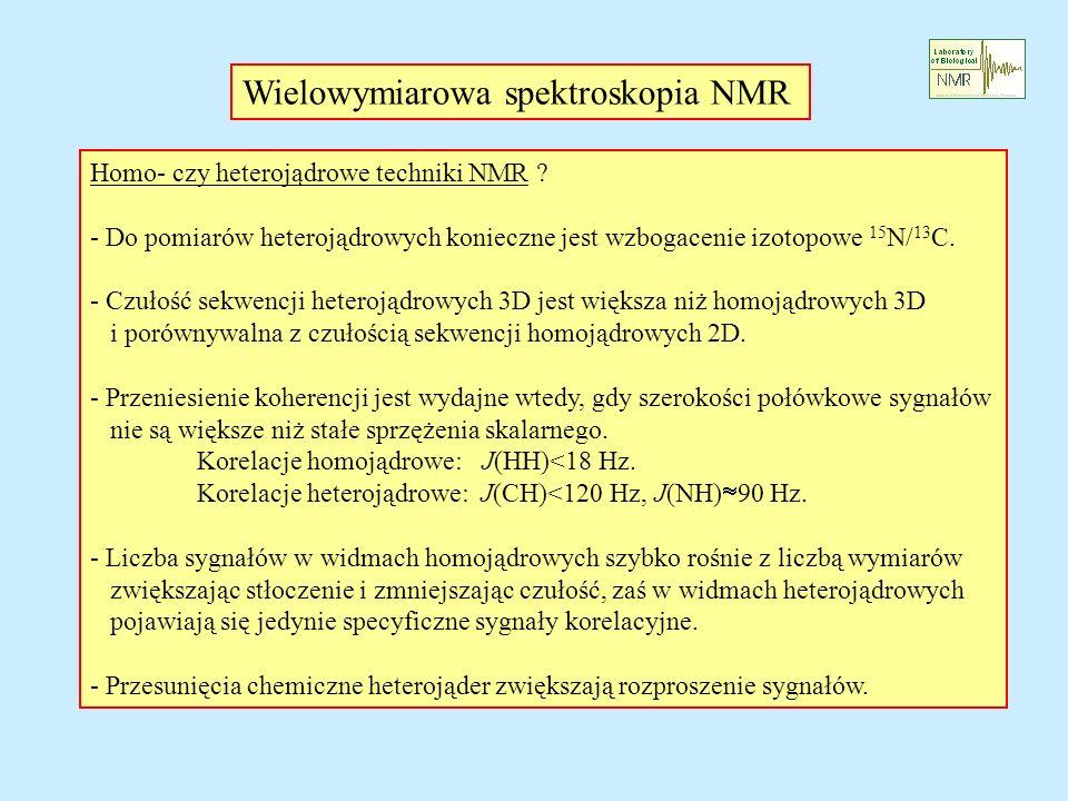 Homo- czy heterojądrowe techniki NMR ? - Do pomiarów heterojądrowych konieczne jest wzbogacenie izotopowe 15 N/ 13 C. - Czułość sekwencji heterojądrow