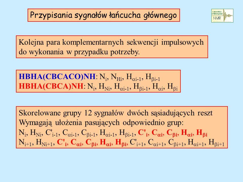 Przypisania sygnałów łańcucha głównego Kolejna para komplementarnych sekwencji impulsowych do wykonania w przypadku potrzeby. HBHA(CBCACO)NH: N i, N H