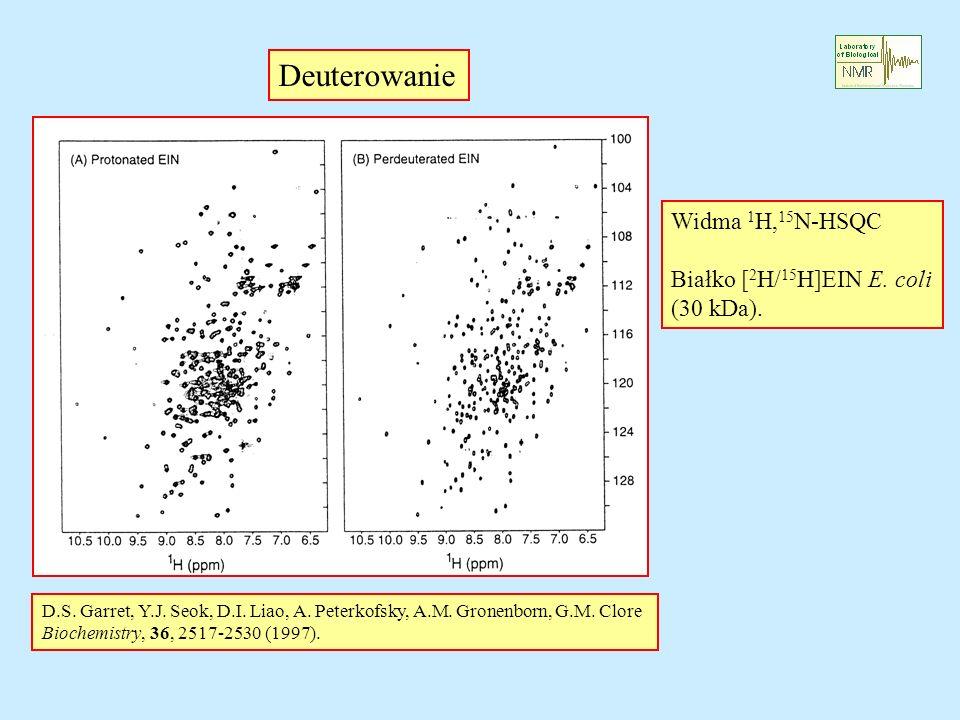 Deuterowanie Widma 1 H, 15 N-HSQC Białko [ 2 H/ 15 H]EIN E. coli (30 kDa). D.S. Garret, Y.J. Seok, D.I. Liao, A. Peterkofsky, A.M. Gronenborn, G.M. Cl