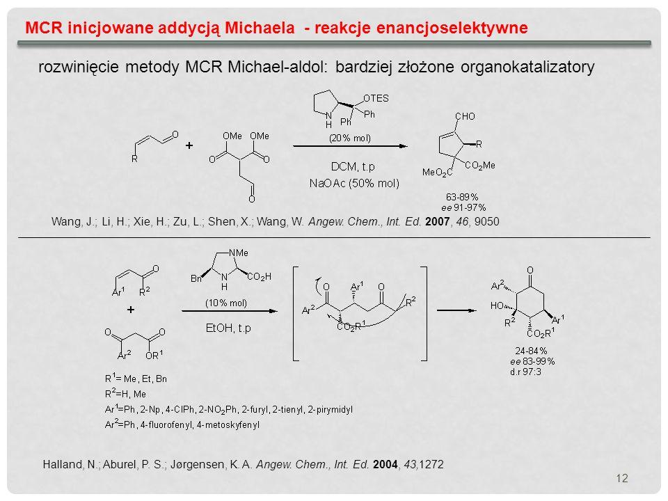 MCR inicjowane addycją Michaela - reakcje enancjoselektywne rozwinięcie metody MCR Michael-aldol: bardziej złożone organokatalizatory Wang, J.; Li, H.