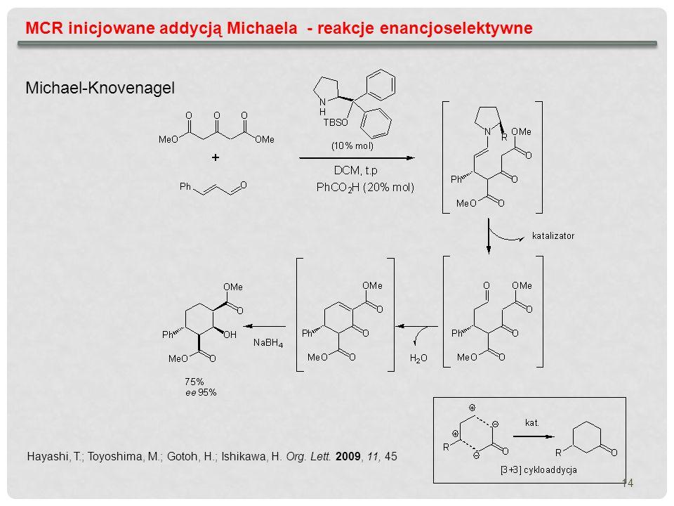 MCR inicjowane addycją Michaela - reakcje enancjoselektywne Hayashi, T.; Toyoshima, M.; Gotoh, H.; Ishikawa, H. Org. Lett. 2009, 11, 45 Michael-Knoven