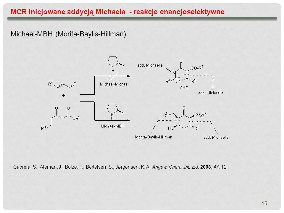 MCR inicjowane addycją Michaela - reakcje enancjoselektywne Michael-MBH (Morita-Baylis-Hillman) Cabrera, S.; Aleman, J.; Bolze, P.; Bertelsen, S.; Jør