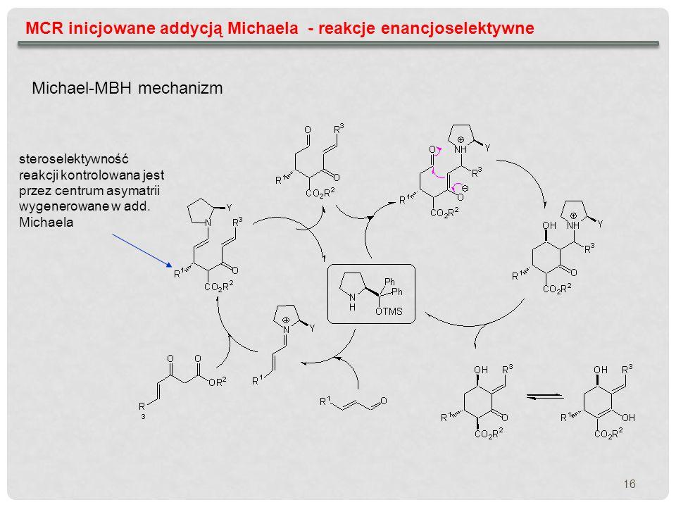MCR inicjowane addycją Michaela - reakcje enancjoselektywne Michael-MBH mechanizm steroselektywność reakcji kontrolowana jest przez centrum asymatrii