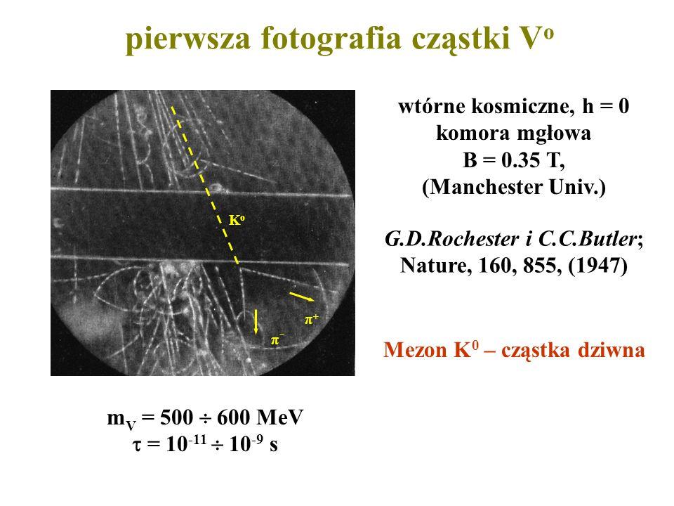 pierwsza fotografia cząstki V o π+π+ π-π- KoKo wtórne kosmiczne, h = 0 komora mgłowa B = 0.35 T, (Manchester Univ.) G.D.Rochester i C.C.Butler; Nature