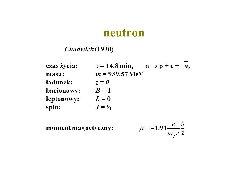 neutron Chadwick (1930) czas życia: = 14.8 min,n p + e + e masa:m = 939.57 MeV ładunek:z = 0 barionowy:B = 1 leptonowy:L = 0 spin: J = ½ moment magnet