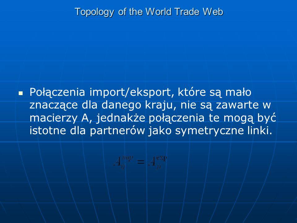 Topology of the World Trade Web Połączenia import/eksport, które są mało znaczące dla danego kraju, nie są zawarte w macierzy A, jednakże połączenia te mogą być istotne dla partnerów jako symetryczne linki.