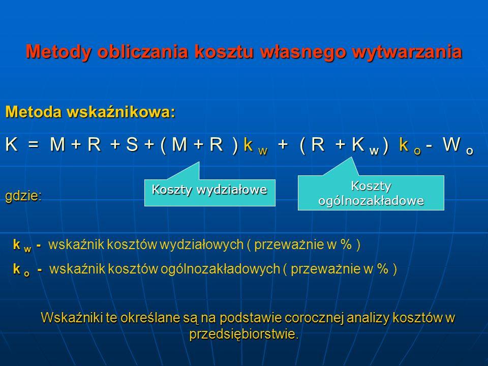 Metody obliczania kosztu własnego wytwarzania Metoda wskaźnikowa: K = M + R + S + ( M + R ) k w + ( R + K w ) k o - W o gdzie: k w - k w - wskaźnik ko