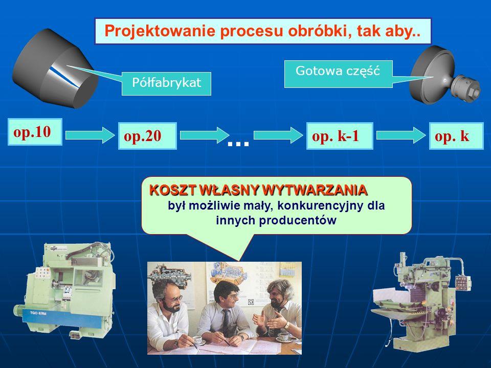 op.10 op. kop.20op. k-1... KOSZT WŁASNY WYTWARZANIA był możliwie mały, konkurencyjny dla innych producentów Projektowanie procesu obróbki, tak aby.. P
