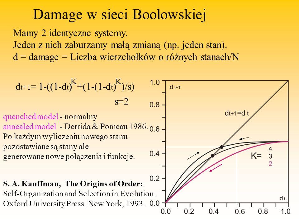 Damage w sieci Boolowskiej Mamy 2 identyczne systemy.