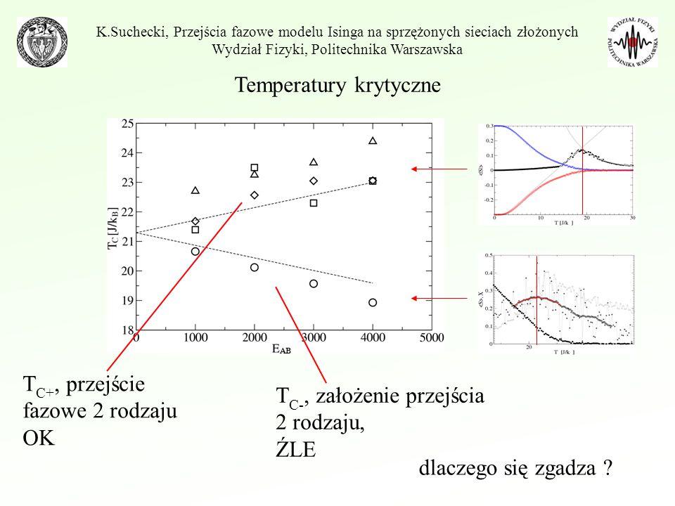 T C+, przejście fazowe 2 rodzaju OK T C-, założenie przejścia 2 rodzaju, ŹLE K.Suchecki, Przejścia fazowe modelu Isinga na sprzężonych sieciach złożon