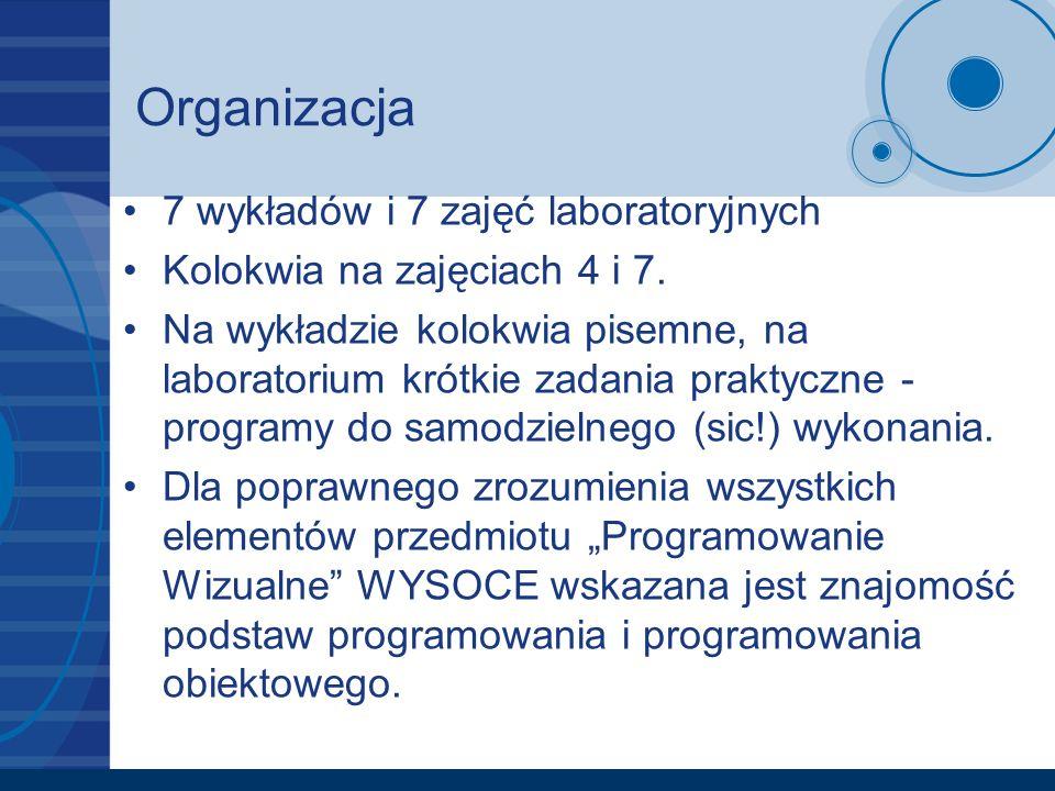 Organizacja 7 wykładów i 7 zajęć laboratoryjnych Kolokwia na zajęciach 4 i 7. Na wykładzie kolokwia pisemne, na laboratorium krótkie zadania praktyczn
