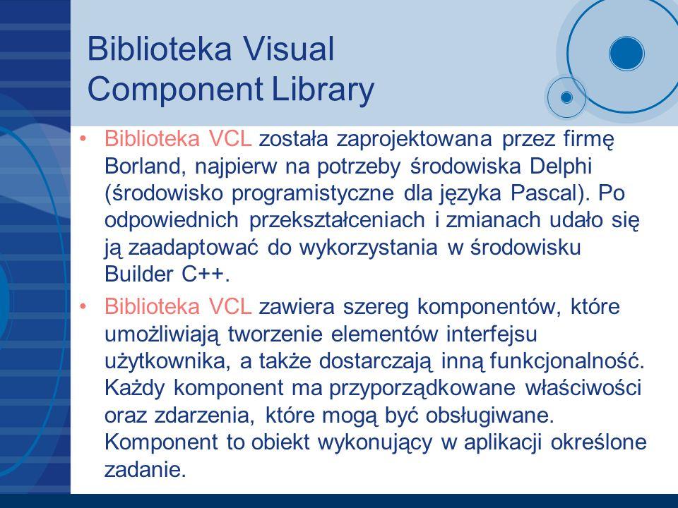Biblioteka Visual Component Library Biblioteka VCL została zaprojektowana przez firmę Borland, najpierw na potrzeby środowiska Delphi (środowisko prog