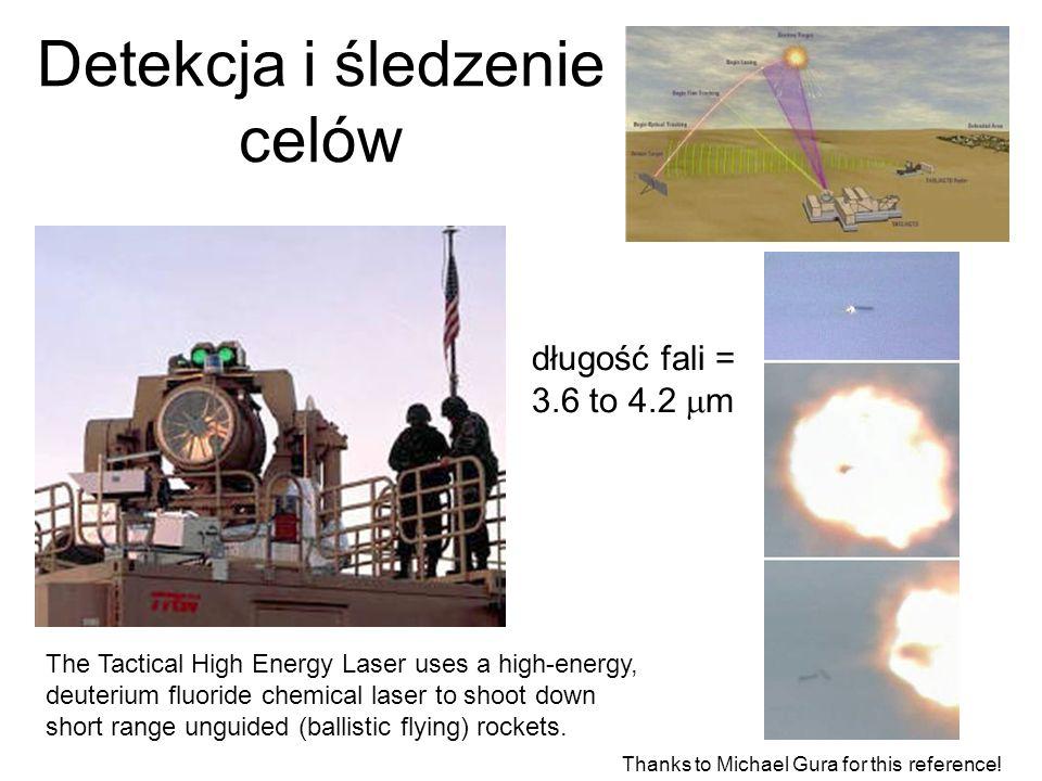 Detekcja i śledzenie celów The Tactical High Energy Laser uses a high-energy, deuterium fluoride chemical laser to shoot down short range unguided (ba