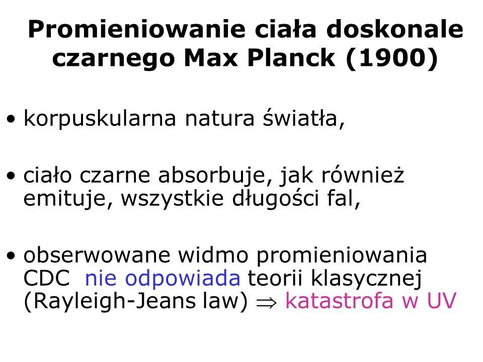 Promieniowanie ciała doskonale czarnego Max Planck (1900) korpuskularna natura światła, ciało czarne absorbuje, jak również emituje, wszystkie długośc