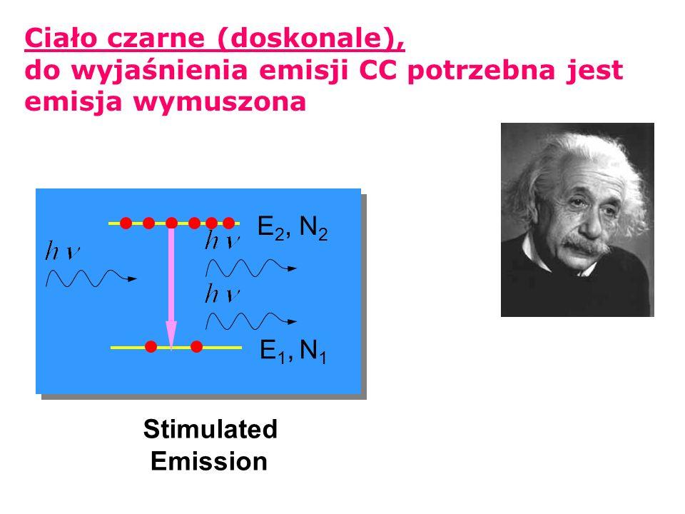 Rayleigh-Jeans Widmo ciała czarnego: prawo Plancka prawo Plancka początkowo okreslono empirycznie (próby i błędy!) wyprowadzone z zał: skwantowania promieniowania, i.e.