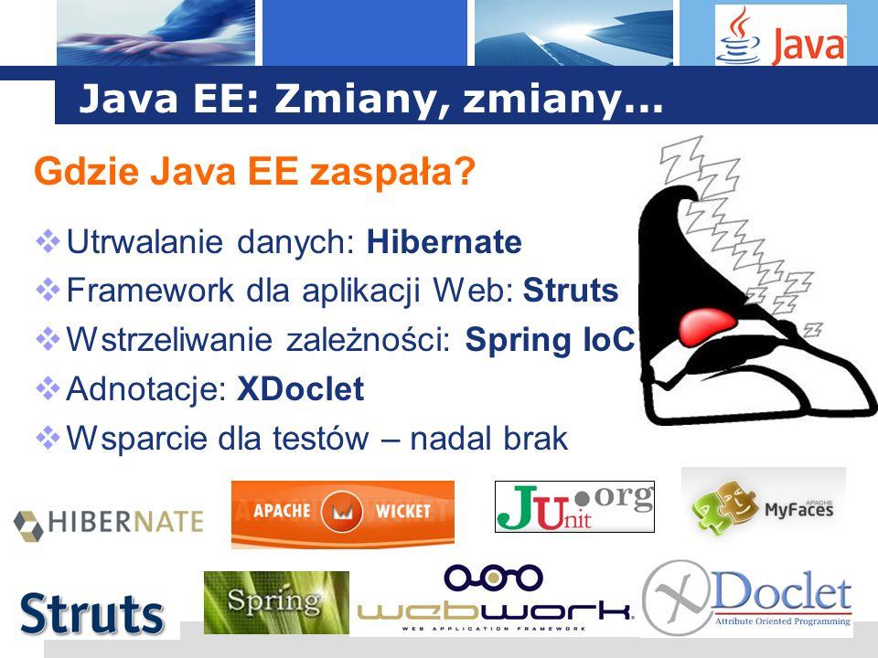 L o g o Java EE: Zmiany, zmiany... Gdzie Java EE zaspała? Utrwalanie danych: Hibernate Framework dla aplikacji Web: Struts Wstrzeliwanie zależności: S