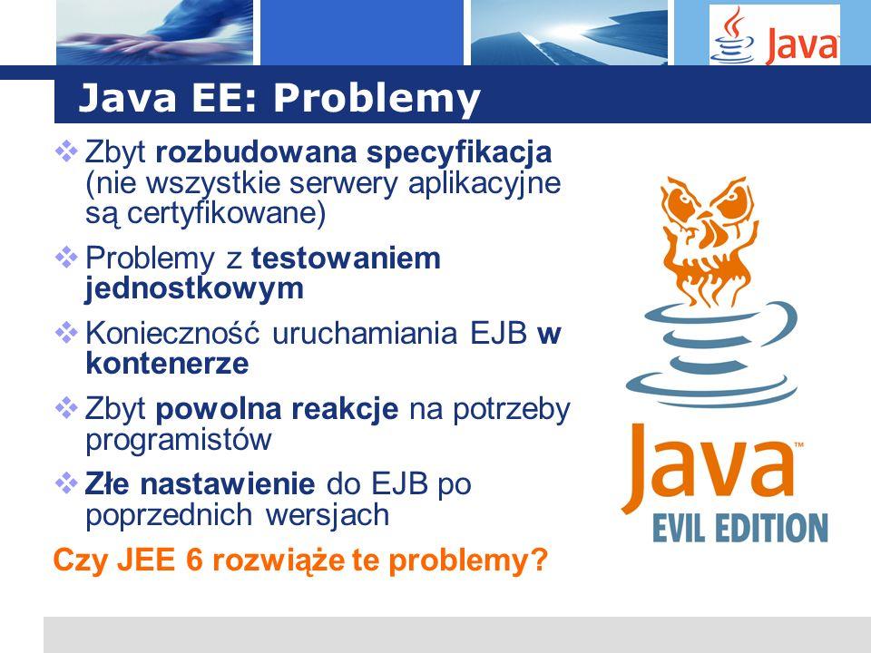 L o g o Java EE: Problemy Zbyt rozbudowana specyfikacja (nie wszystkie serwery aplikacyjne są certyfikowane) Problemy z testowaniem jednostkowym Konie