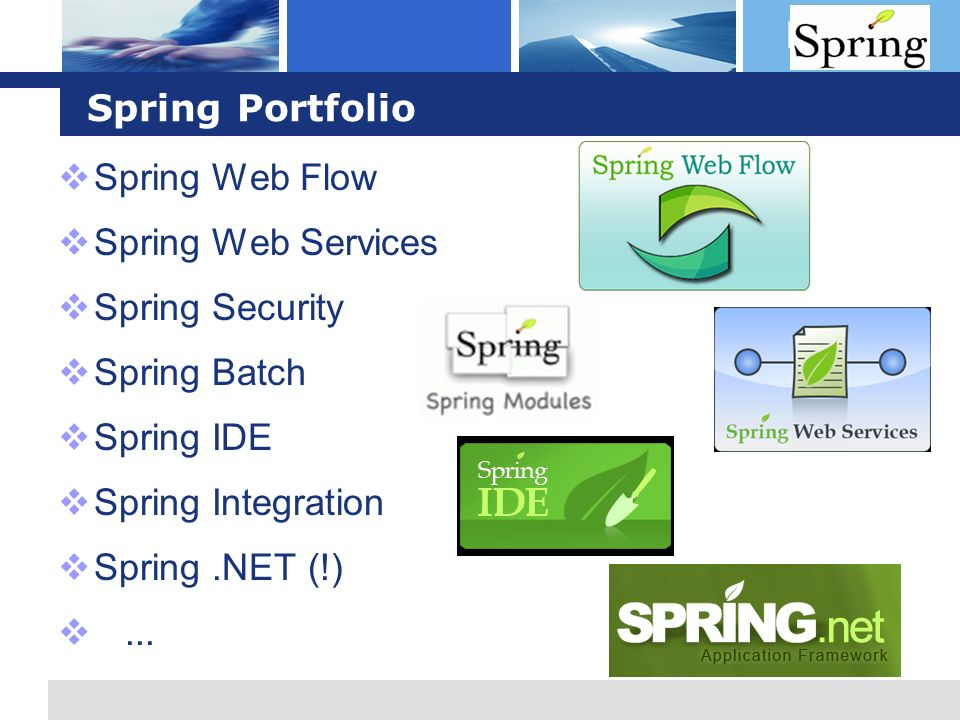 L o g o Spring Portfolio Spring Web Flow Spring Web Services Spring Security Spring Batch Spring IDE Spring Integration Spring.NET (!)...