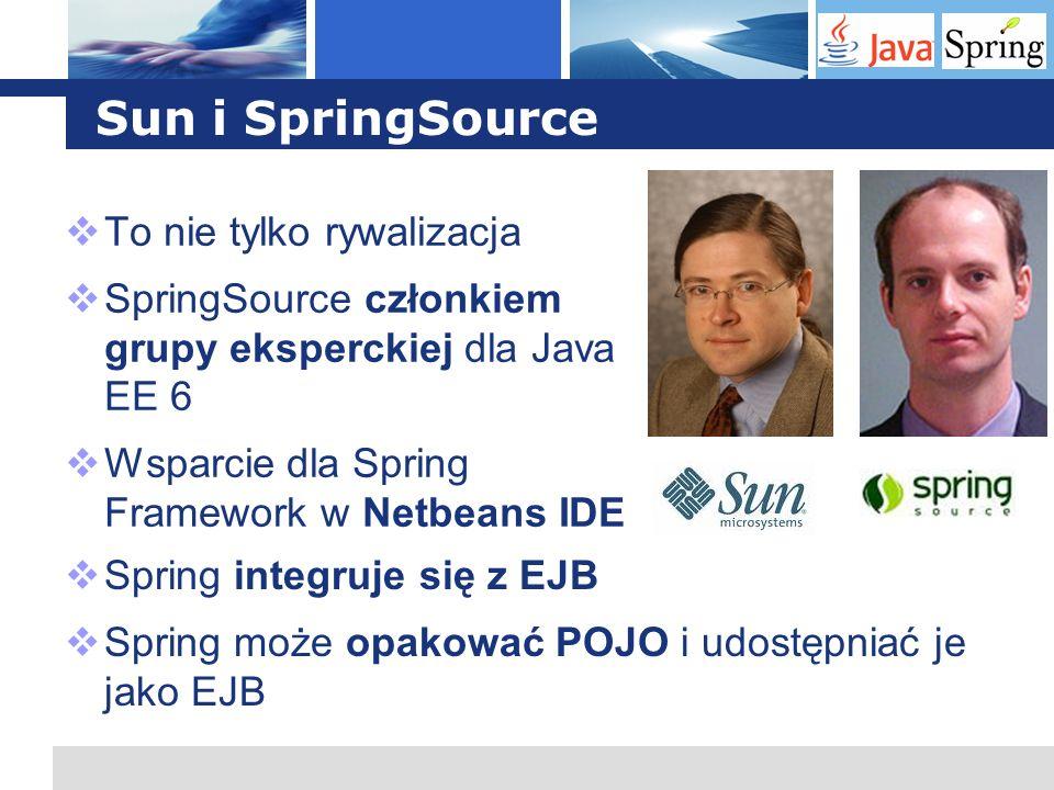 L o g o Sun i SpringSource To nie tylko rywalizacja SpringSource członkiem grupy eksperckiej dla Java EE 6 Wsparcie dla Spring Framework w Netbeans ID