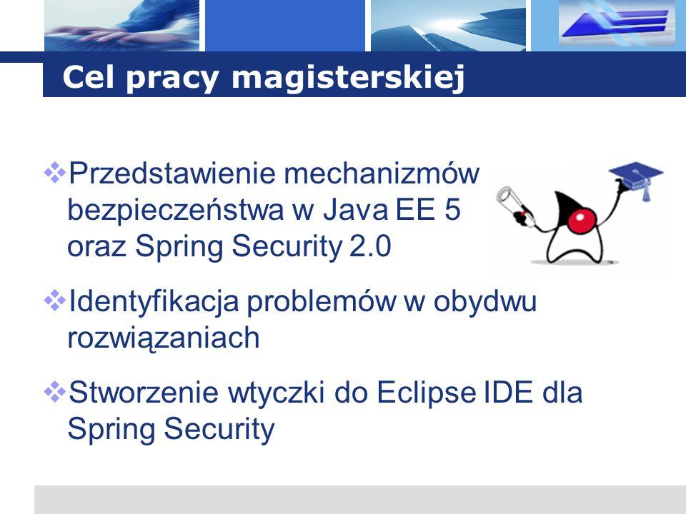 L o g o Bezpieczeństwo: JEE i Spring Różnice: Spring Security: konfiguracja zamknięta w WAR Spring Security: zabezpieczenie dowolnej klasy, metody, instancji obiektu Spring Security: bogatsze API Spring Security: hierarchiczne role