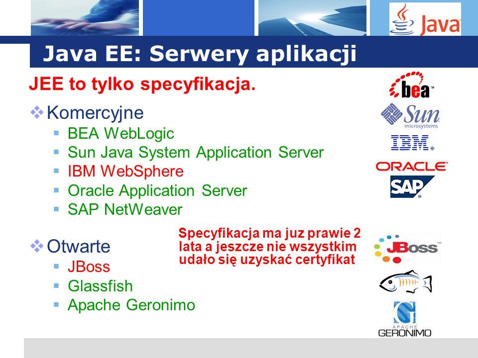 L o g o Java EE: Serwery aplikacji JEE to tylko specyfikacja. Komercyjne BEA WebLogic Sun Java System Application Server IBM WebSphere Oracle Applicat