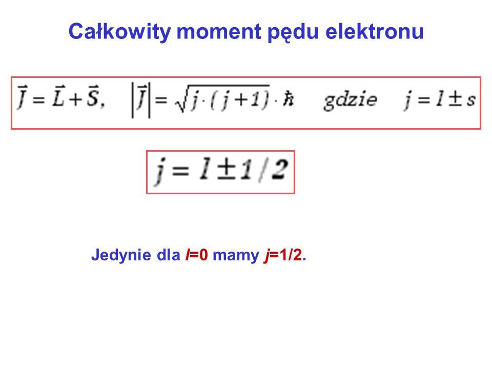 Całkowity moment pędu elektronu Jedynie dla l=0 mamy j=1/2.