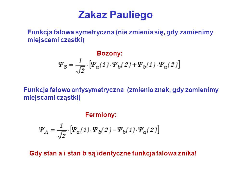 Zakaz Pauliego Bozony: Fermiony: Funkcja falowa symetryczna (nie zmienia się, gdy zamienimy miejscami cząstki) Funkcja falowa antysymetryczna (zmienia