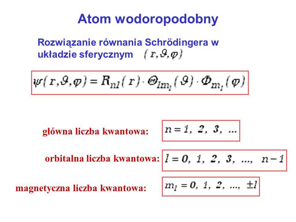 Atom wodoropodobny Rozwiązanie równania Schrödingera w układzie sferycznym główna liczba kwantowa: orbitalna liczba kwantowa: magnetyczna liczba kwant