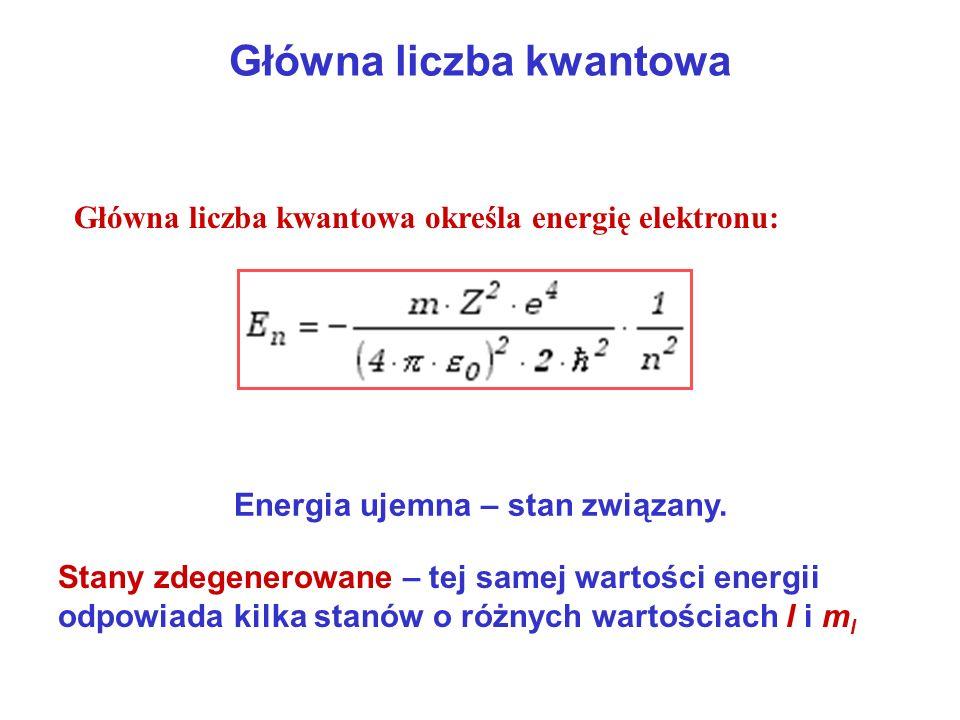 Główna liczba kwantowa Główna liczba kwantowa określa energię elektronu: Energia ujemna – stan związany. Stany zdegenerowane – tej samej wartości ener